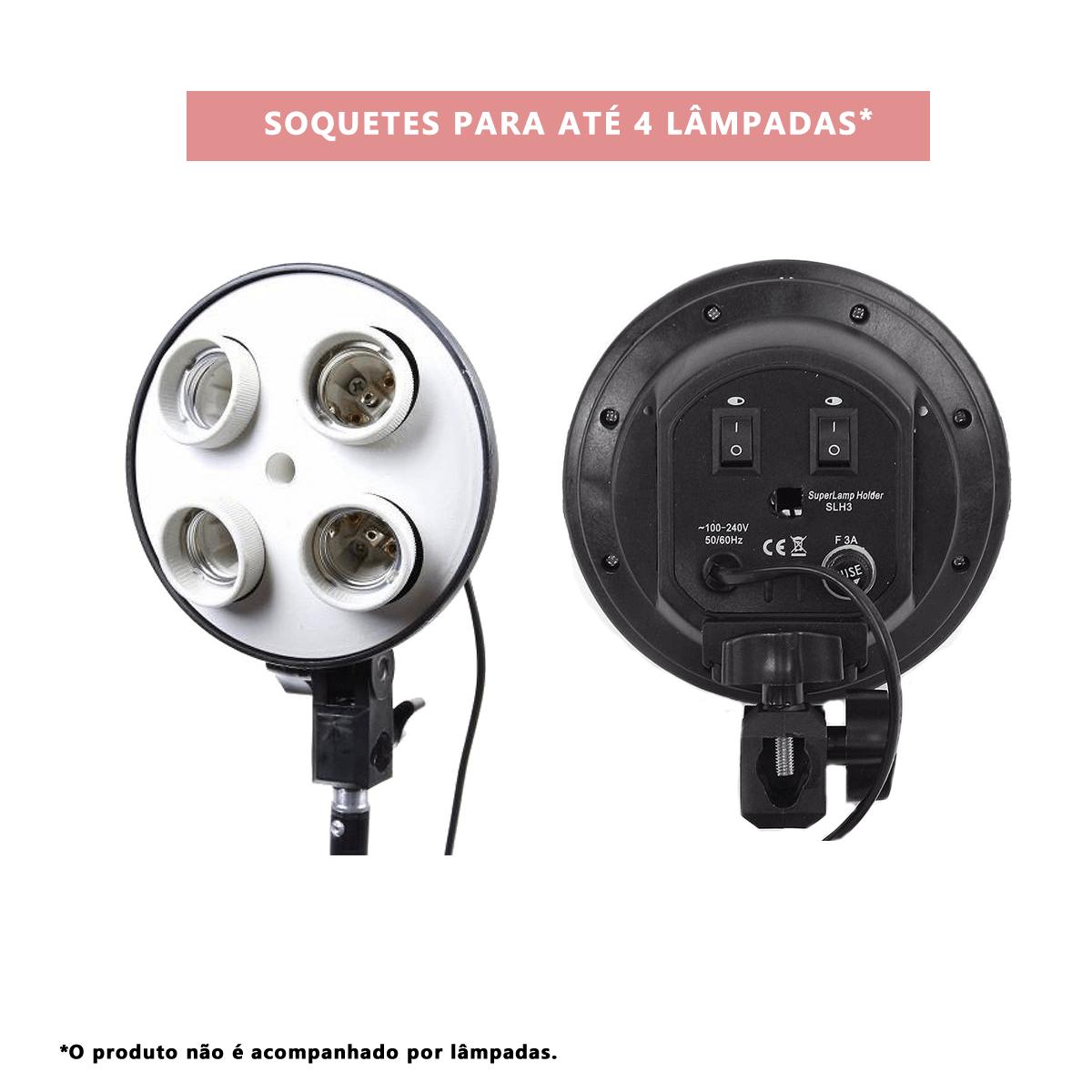 Iluminação para Foto e Vídeo Newborn NB-1 Softbox 50x70cm com bocal quádruplo e tripé 2m  - Fotolux