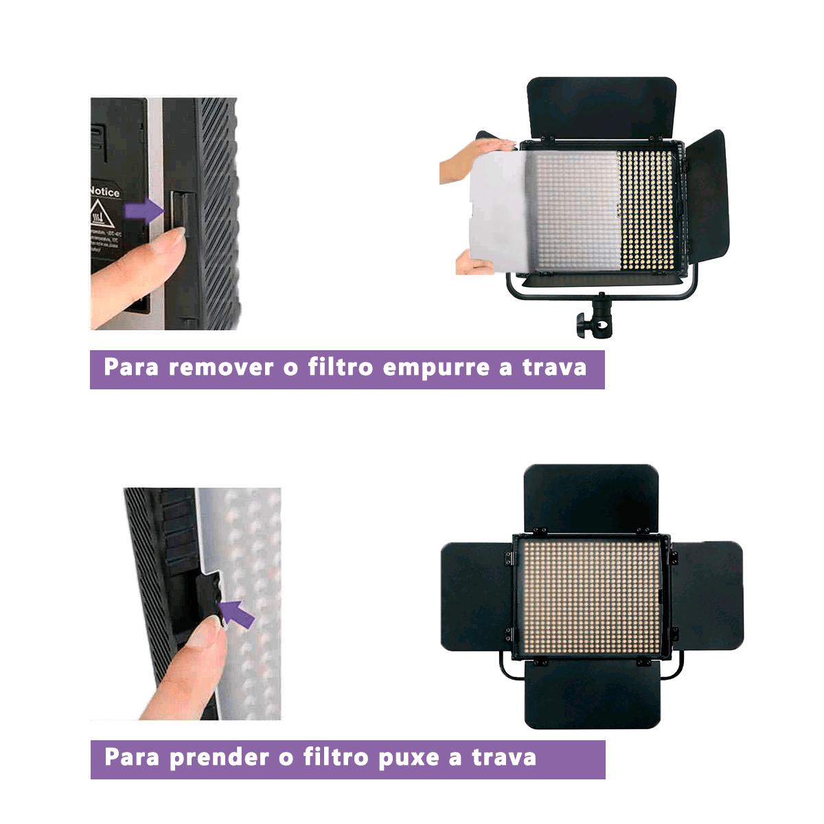 Iluminador de Led 36W para Fotografia com Controle Remoto Greika HS-600MB  - Fotolux