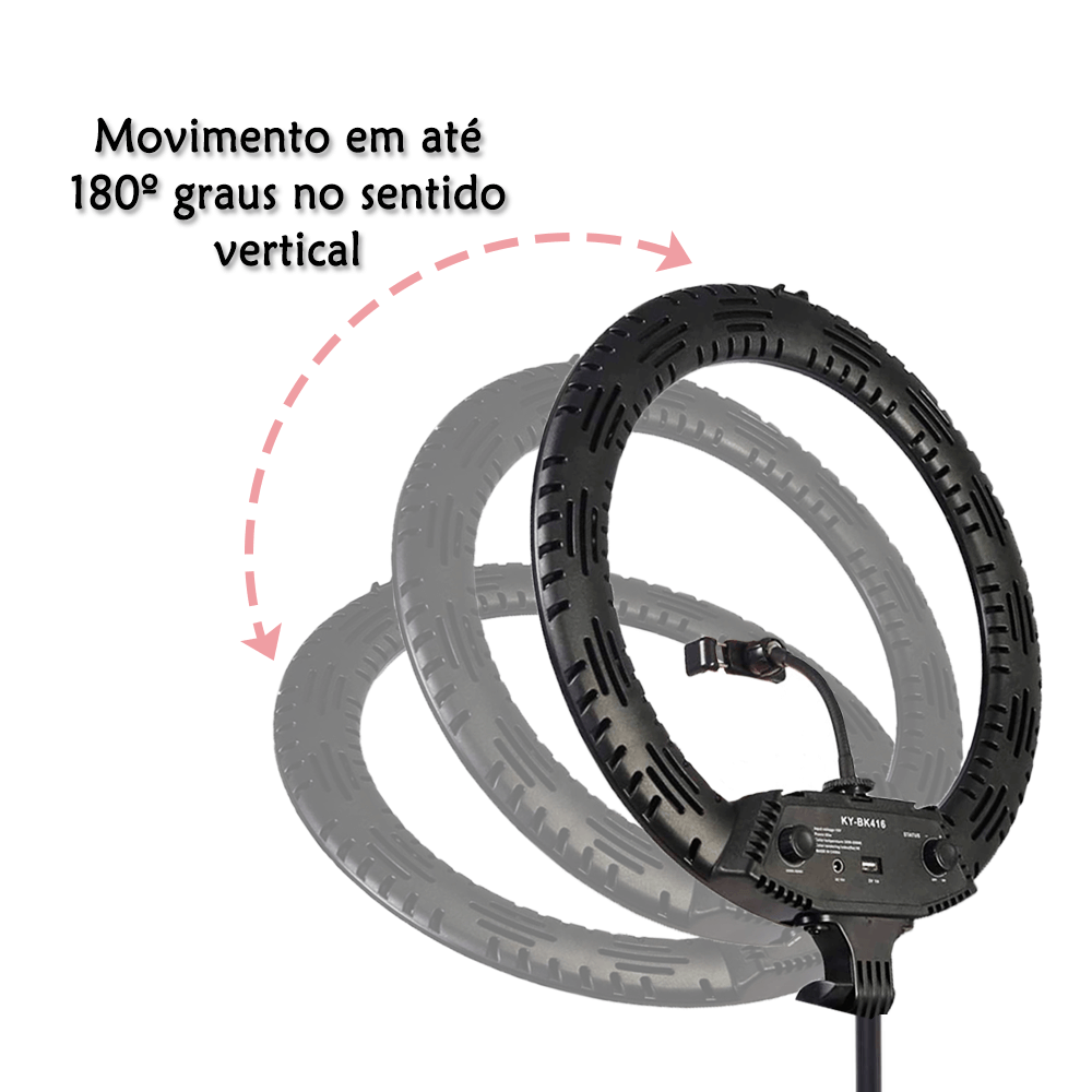 Iluminador de LED 65W Ring Light 45cm Diâmetro com Tripé de 2m para Foto e Vídeo  - Fotolux