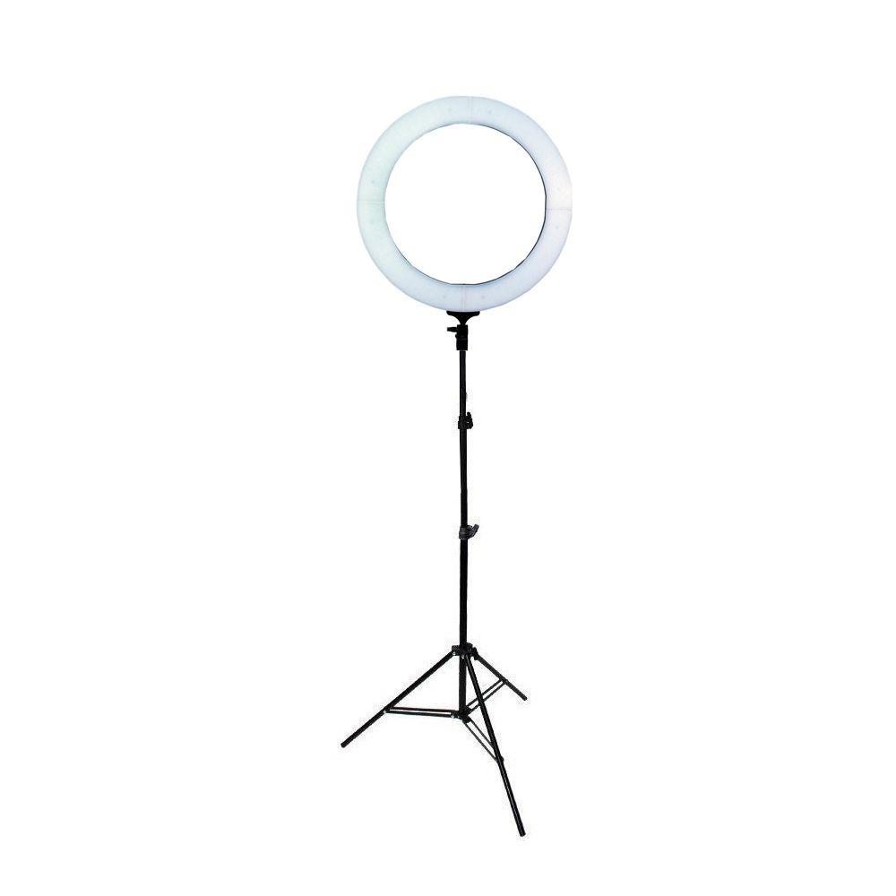Kit com Iluminador de LED Ring Light 18 80W 48cm Diâmetro e Tripé de Iluminação 2m para Foto e Vídeo  - Fotolux