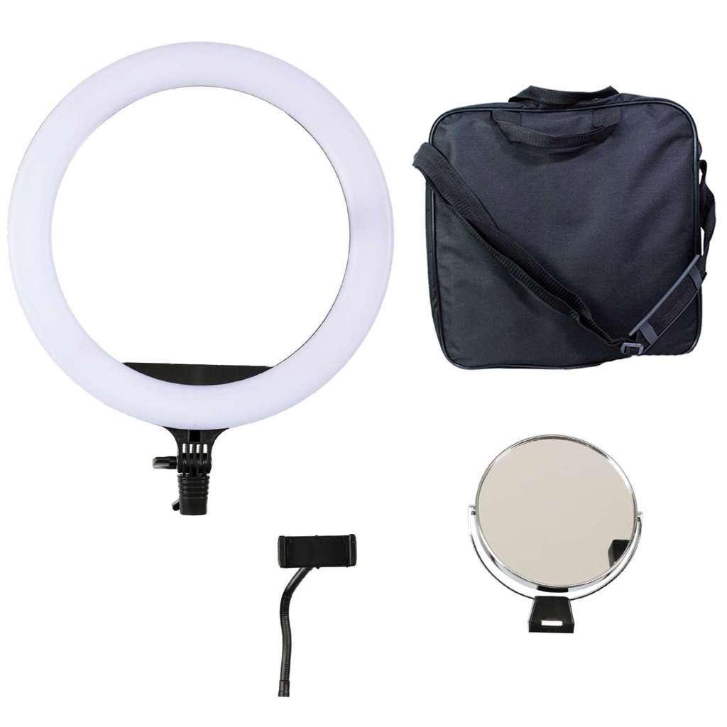 Iluminador Ring Light Equifoto RL12 40W com Espelho e Suporte para Celular (sem tripé)  - Fotolux