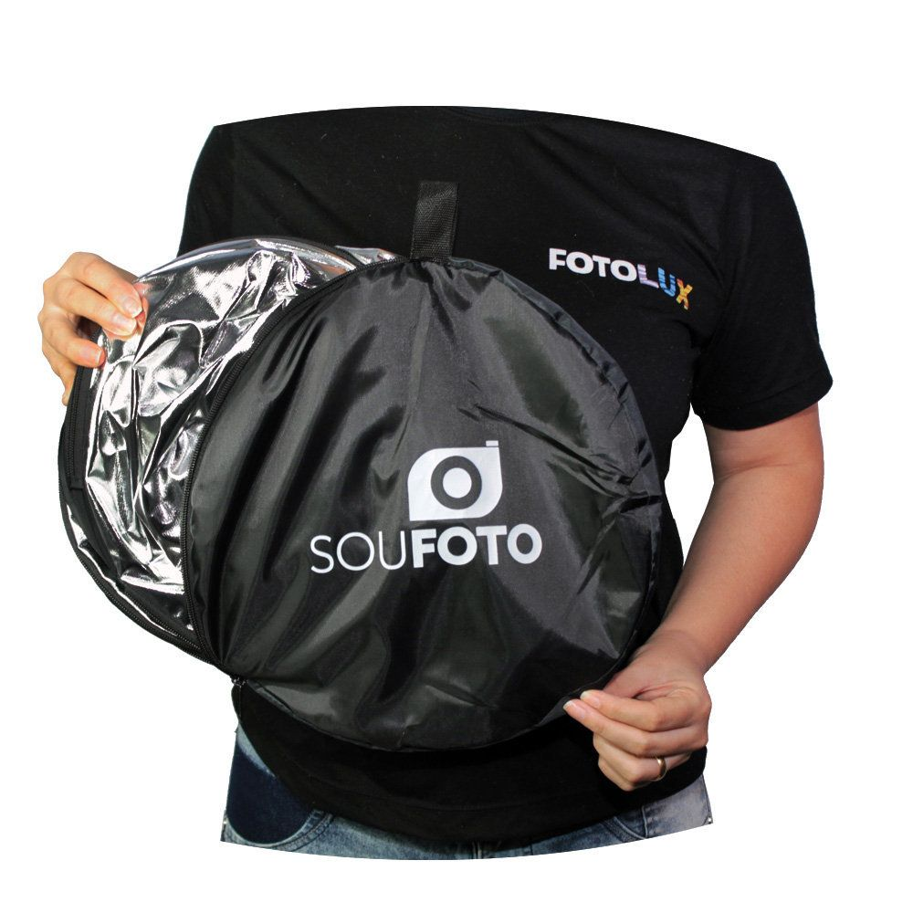 Kit com Rebatedores Fotográficos 105cm, 80cm e 60cm Refletor e Difusor 5 em 1 Sou Foto