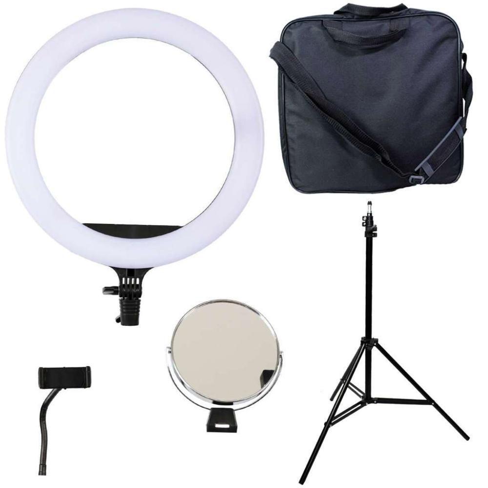 Kit com Ring Light Equifoto RL12 40W Espelho, Suporte para Celular e Tripé de Iluminação 2m  - Fotolux