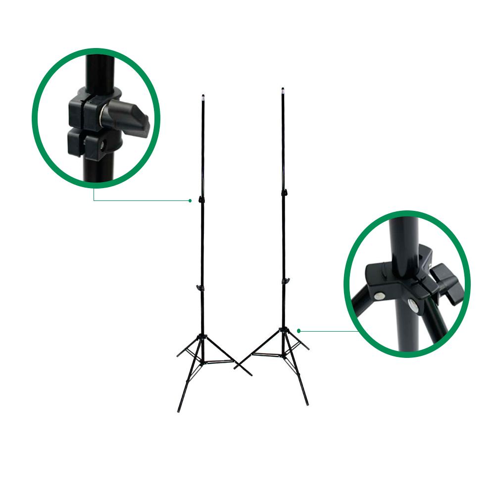 Kit com Suporte YS-300, Fundo Infinito Muslin Verde 3m x 5m Chroma Key e Grampos para Estúdios Fotográficos  - Fotolux