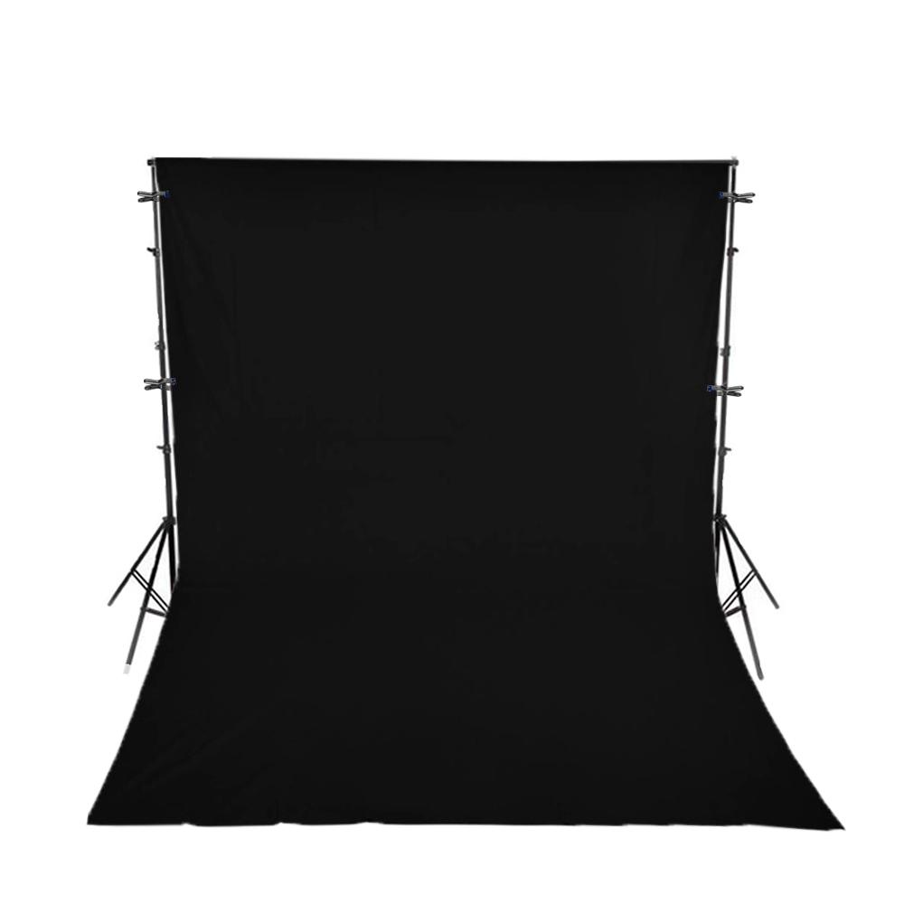 Kit com Suporte YS-300, Fundo Infinito Oxford Preto 3m x 5m e Grampos Alicate para Estúdios de Fotografia