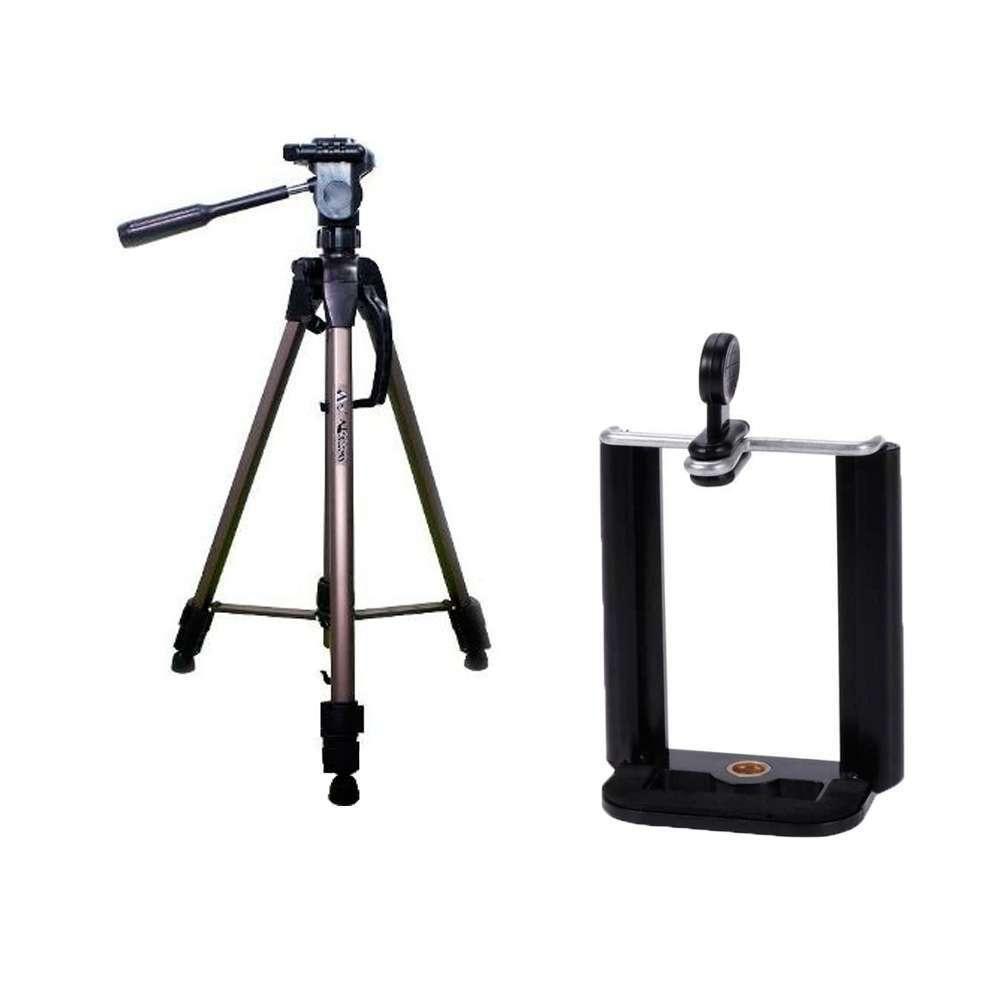 Kit com Tripé de Câmera Weifeng WT-3750 e Suporte de Celular para Fotos e Vídeos  - Fotolux