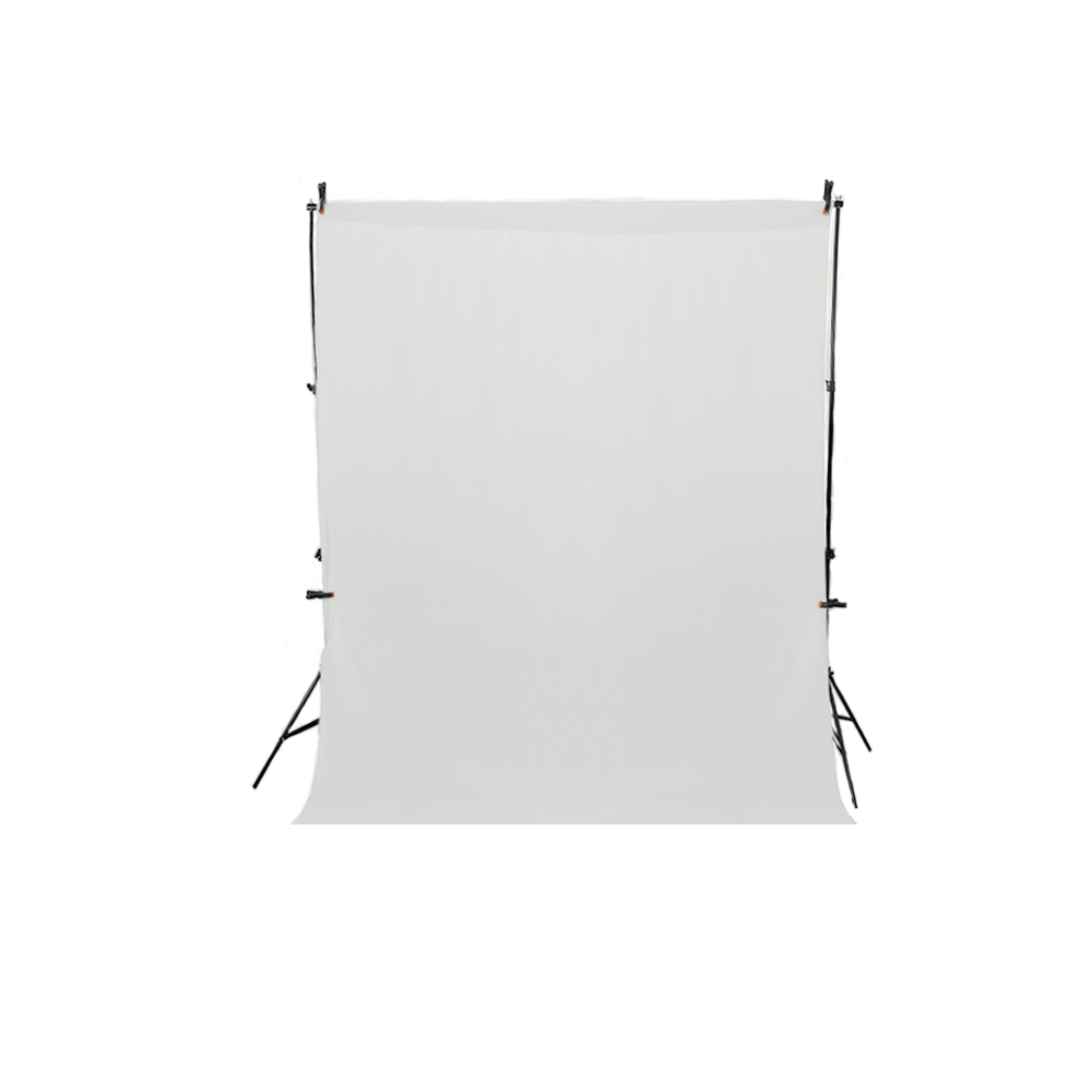 Kit Completo Fundo Fotográfico Branco 1,5m x 2m com Suporte SFI-243 + 4 Grampos  - Fotolux