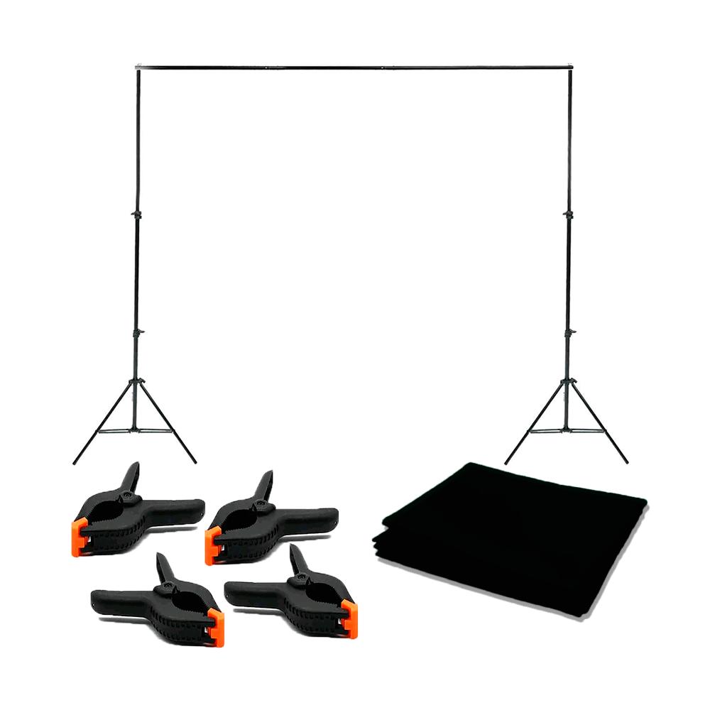 Kit Completo Fundo Fotográfico Preto Oxford 3m x 5m com Suporte 2,40m x 3m e 4 Grampos Sou Foto