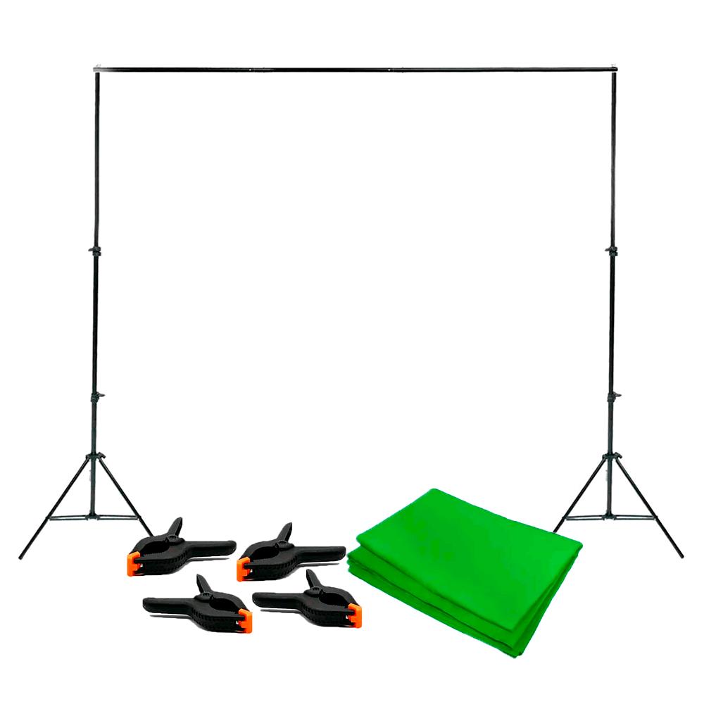Kit Completo Fundo Verde Chroma Key 3m x 5m com Suporte 2,40m x 3m e 4 Grampos Sou Foto  - Fotolux