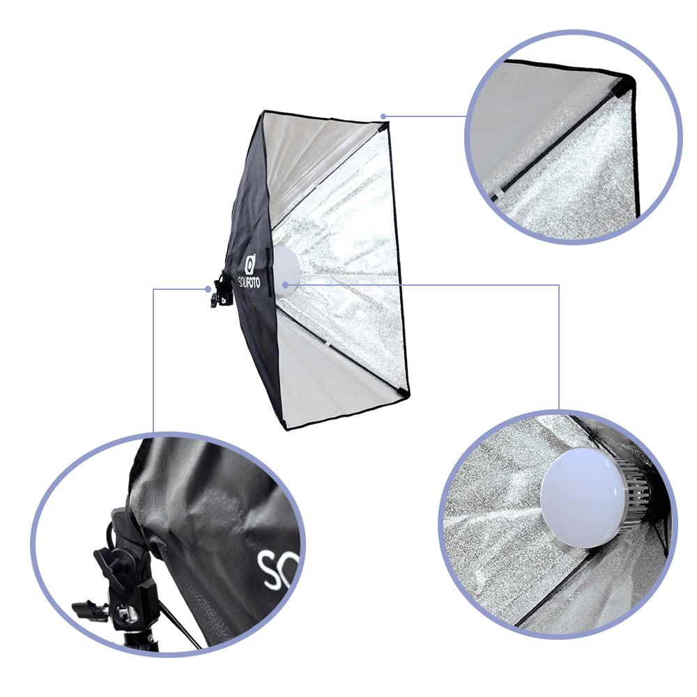 Kit Completo Iluminação para Foto e Vídeo com Softbox, Tripés 2m, Lâmpadas de 50w, Braço Girafa e Bolsa Sou Foto  - Fotolux