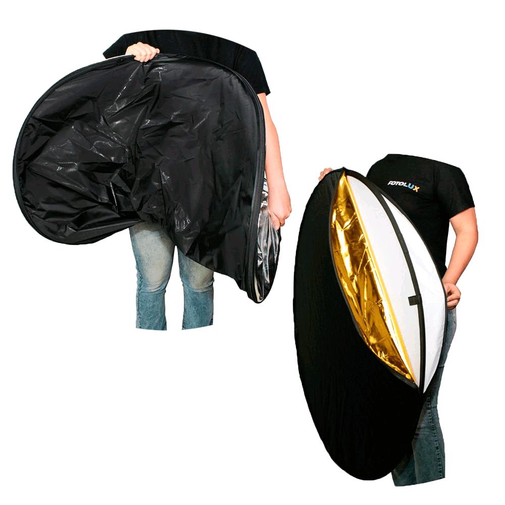 Kit Completo Rebatedor Fotográfico 105cm 5 em 1, Suporte SPR-001 e Tripé de 2m Sou Foto  - Fotolux