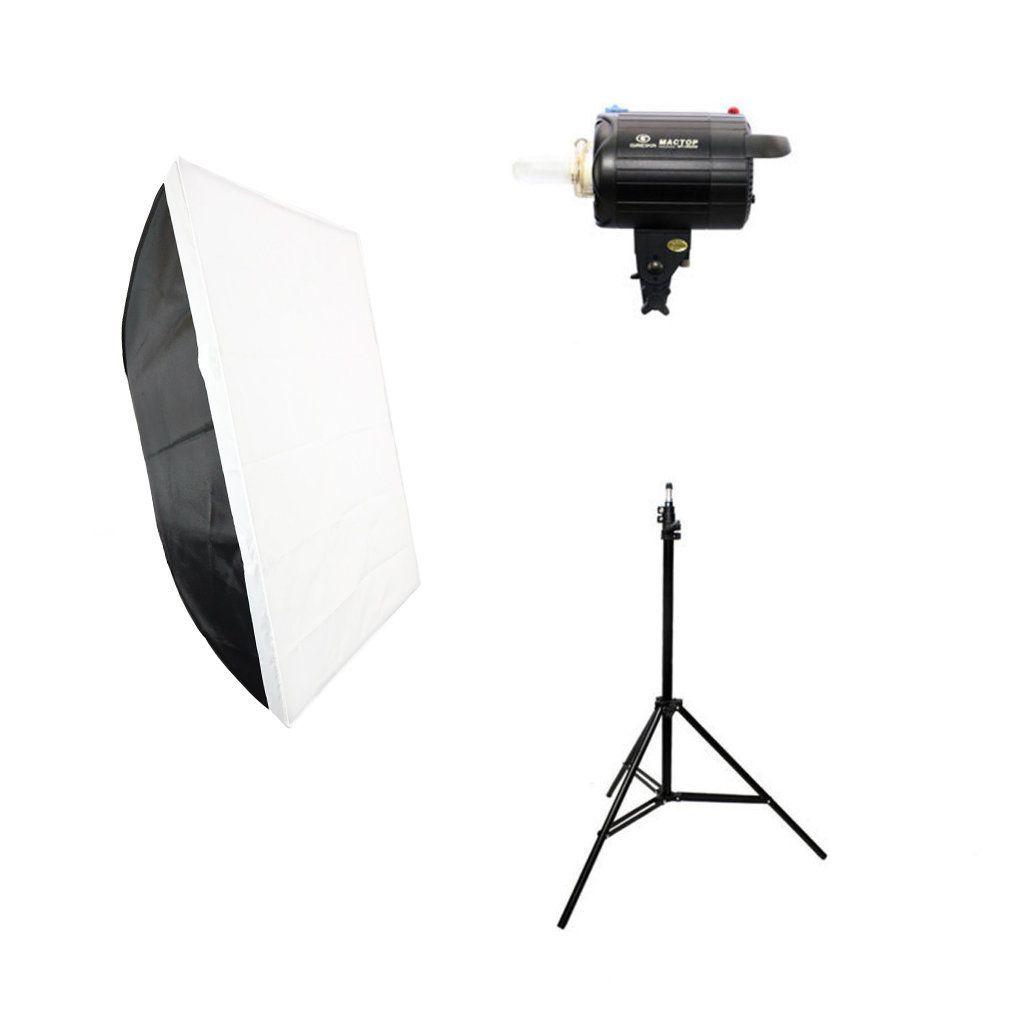 Kit de Iluminação 300W com Flash Estúdio Tocha 110V, Softbox e Tripé para Fotografia  - Fotolux