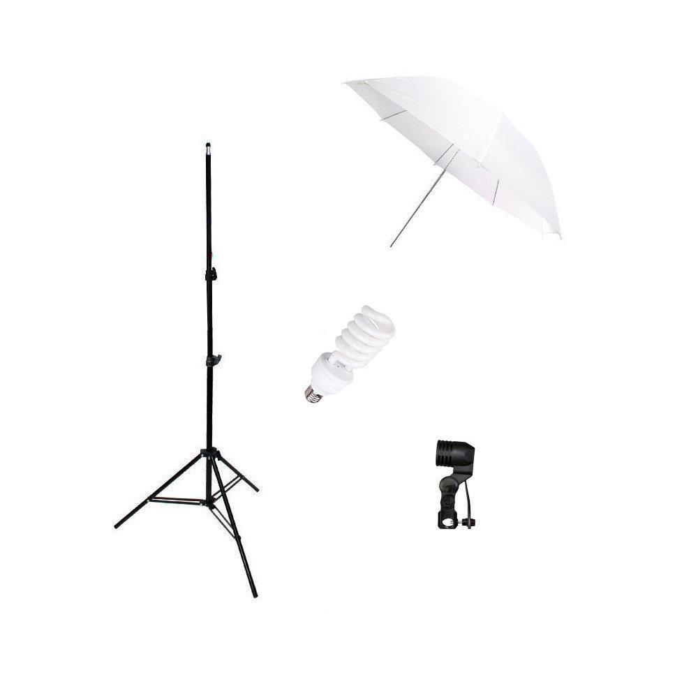 Kit de Iluminação 45W com Sombrinha Branca Difusora, Soquete E-27 e Tripé de 2m para Foto e Vídeo - 110V  - Fotolux