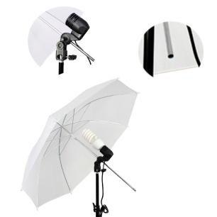 Kit de Iluminação 85W com Sombrinha Branca Difusora, Soquete E-27 e Tripé de 2m para Foto e Vídeo   - Fotolux