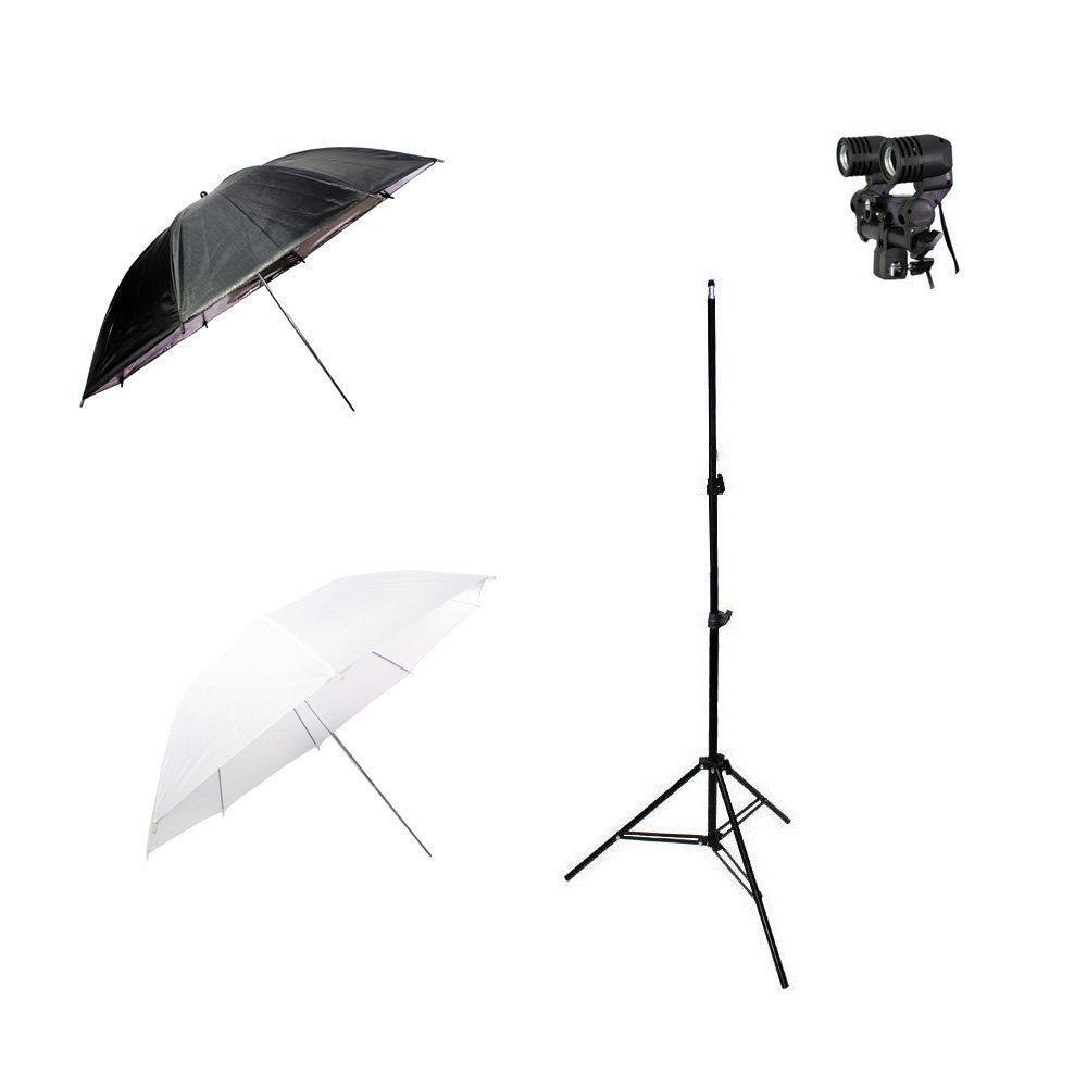 Kit de Iluminação com Sombrinha Branca, Sombrinha Preta e Prata, Tripé 2m e Soquete Duplo Sou Foto