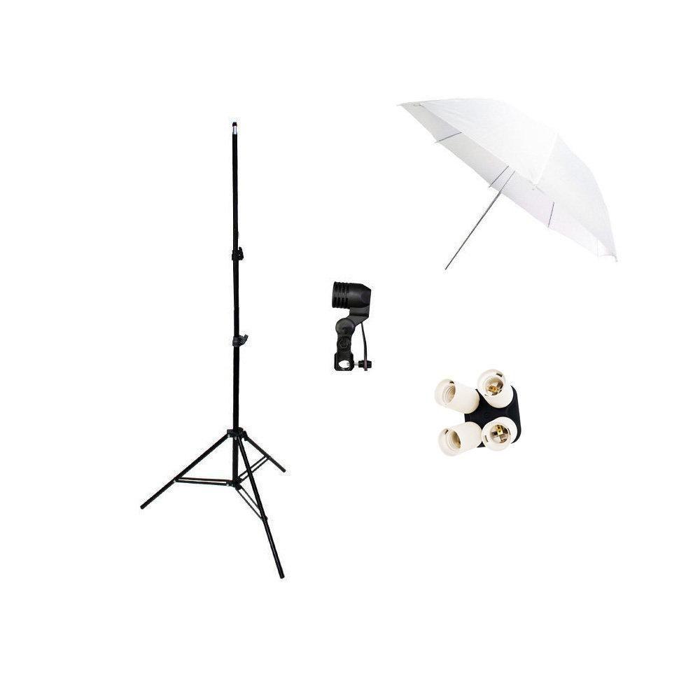 Kit de Iluminação com Sombrinha Branca, Soquete E-27, Quadruplicador E27 YL-108 e Tripé 2m Sou Foto  - Fotolux