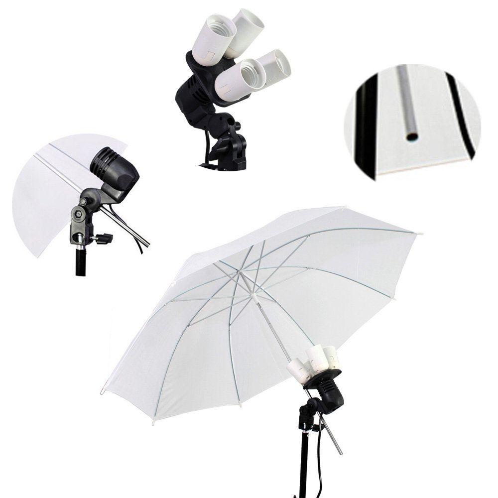 Kit de Iluminação com Sombrinha Branca, Soquete, Quadruplicador E27 e Tripé 2m