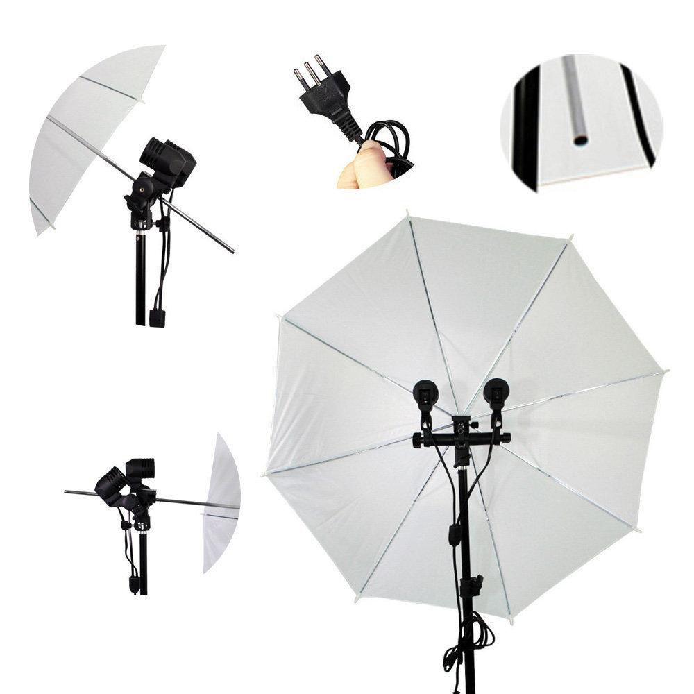 Kit de Iluminação com Sombrinha Difusora Branca, Soquete Duplo e Tripé de 2m Sou Foto  - Fotolux