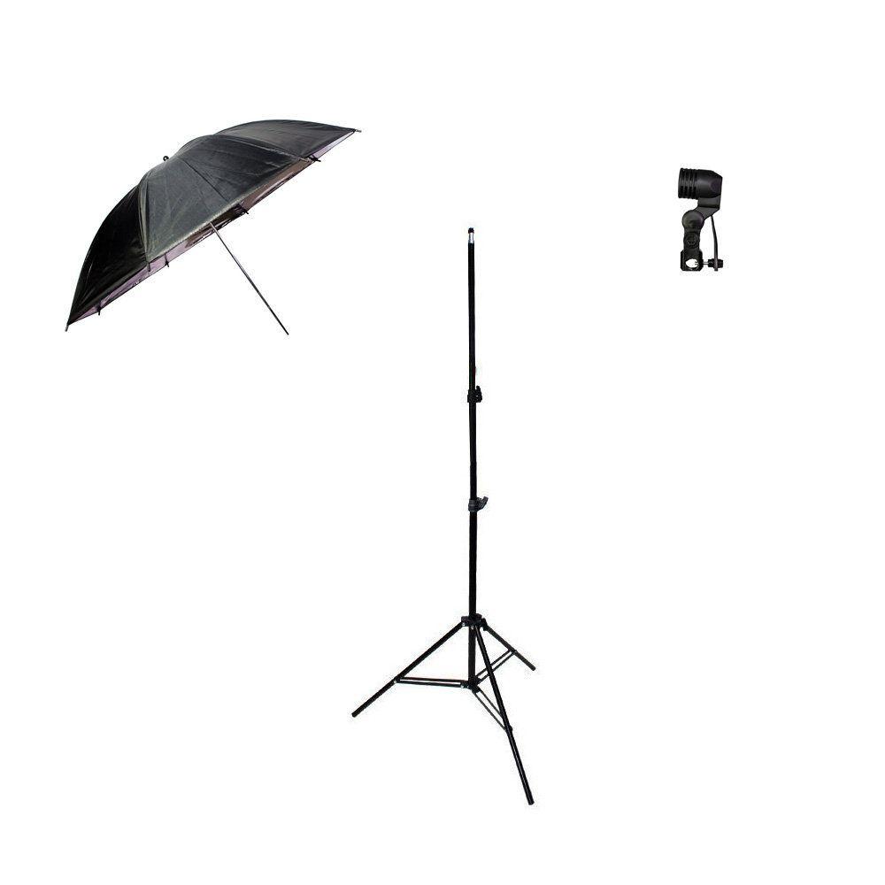 Kit de Iluminação com Sombrinha Preta e Prata, Tripé 2m e Soquete Simples Sou Foto