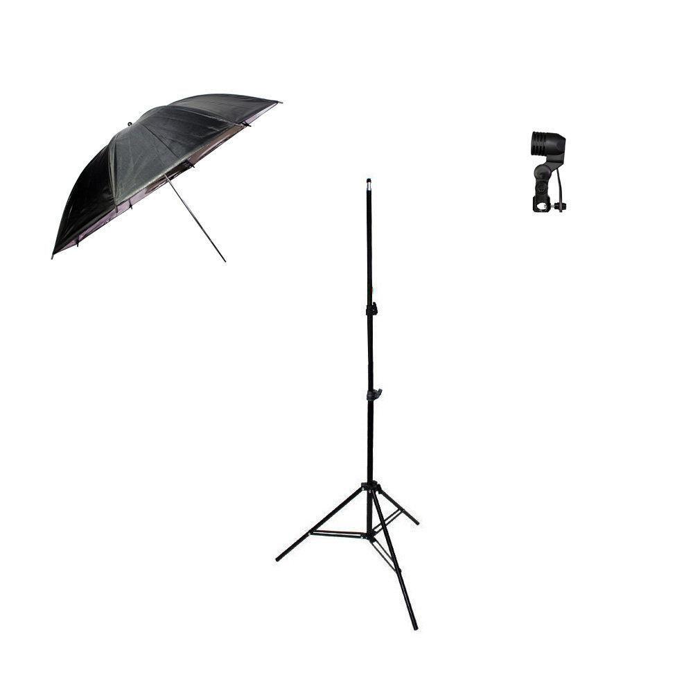 Kit de Iluminação com Sombrinha Refletora Preta e Prata, Tripé 2m e Soquete Simples Sou Foto