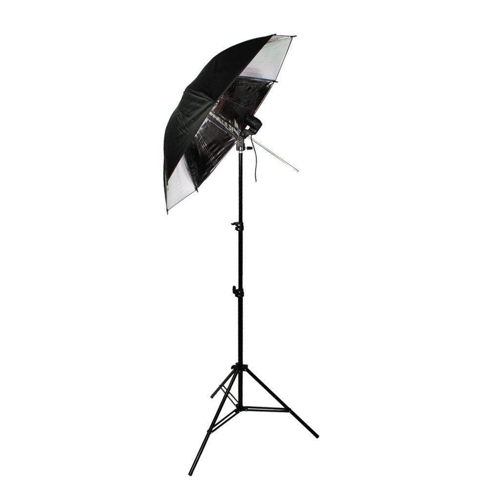 Kit de Iluminação com Sombrinha Refletora Preta e Prata, Tripé 2m e Soquete Simples Sou Foto  - Fotolux