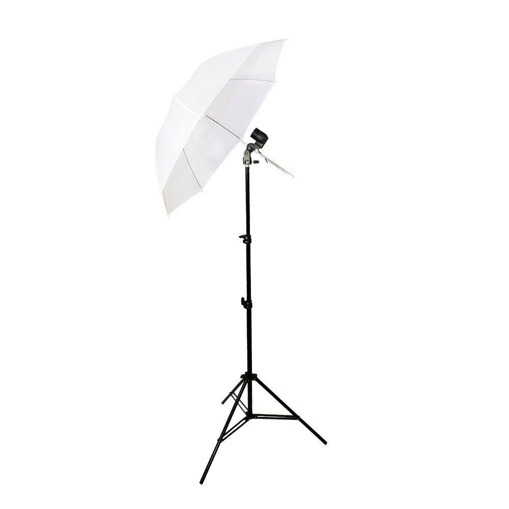 Kit de Iluminação com Tripé 2m, Soquete Simples e Sombrinha Branca Difusora Sou Foto