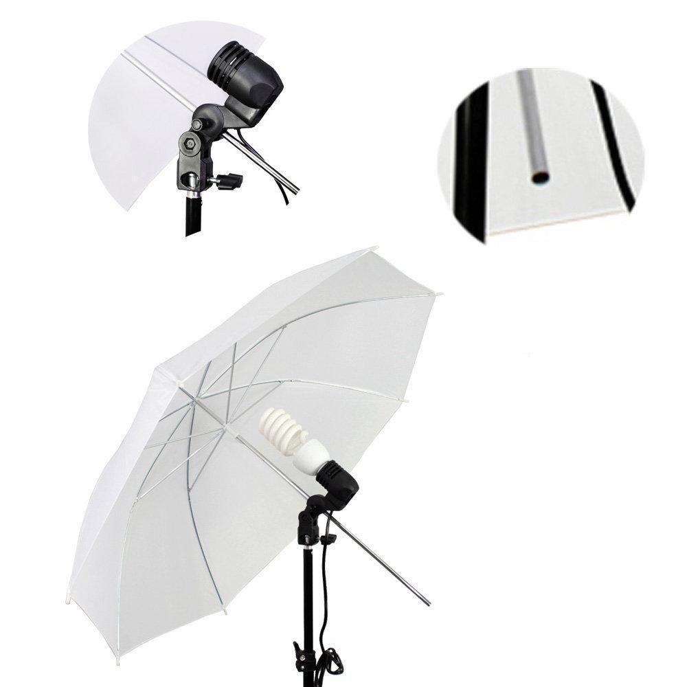 Kit de Iluminação com Tripé 2 metros, Soquete Simples e Sombrinha Branca Difusora Sou Foto  - Fotolux