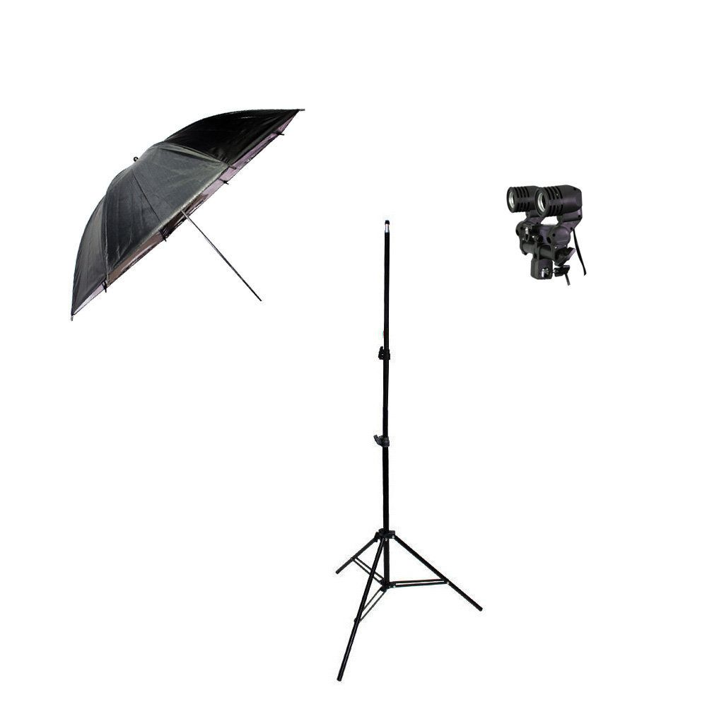 Kit de Iluminação com Tripé 2m, Soquete Duplo e Sombrinha Refletora Preta e Prata Sou Foto