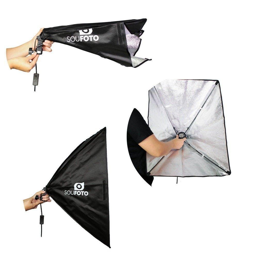 Kit de Iluminação com Tripé Atek 1,80 metros e Softbox 50x70cm Sou Foto SBS-50x70 para Estúdios Fotográficos