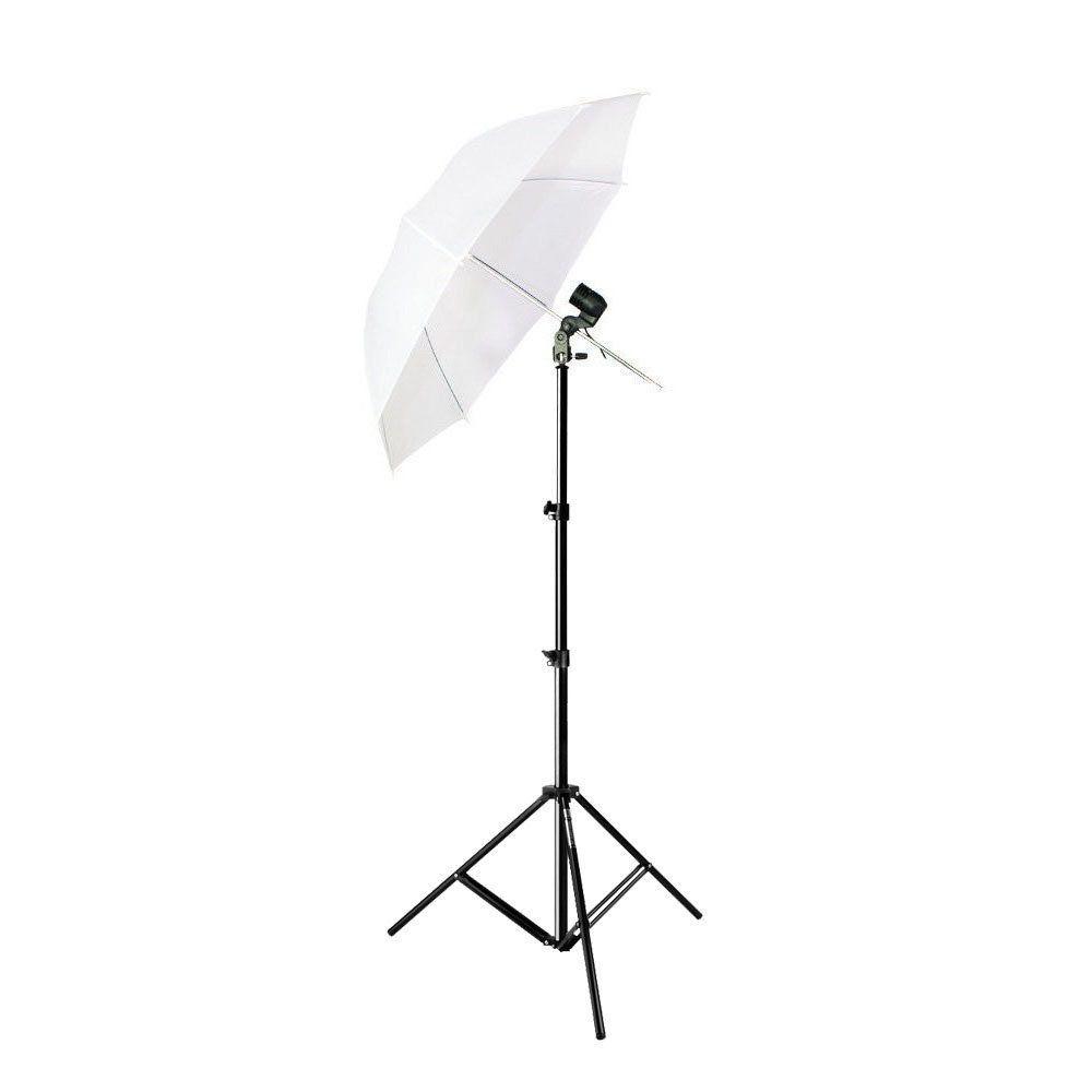 Kit de Iluminação com Tripé Atek 1,80 metros, Soquete Simples e Sombrinha Branca Difusora Sou Foto