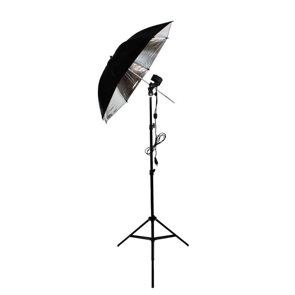 Kit de Iluminação com Tripé de 2 metros, Soquete Duplo e Sombrinha Refletora Preta e Prata Sou Foto  - Fotolux
