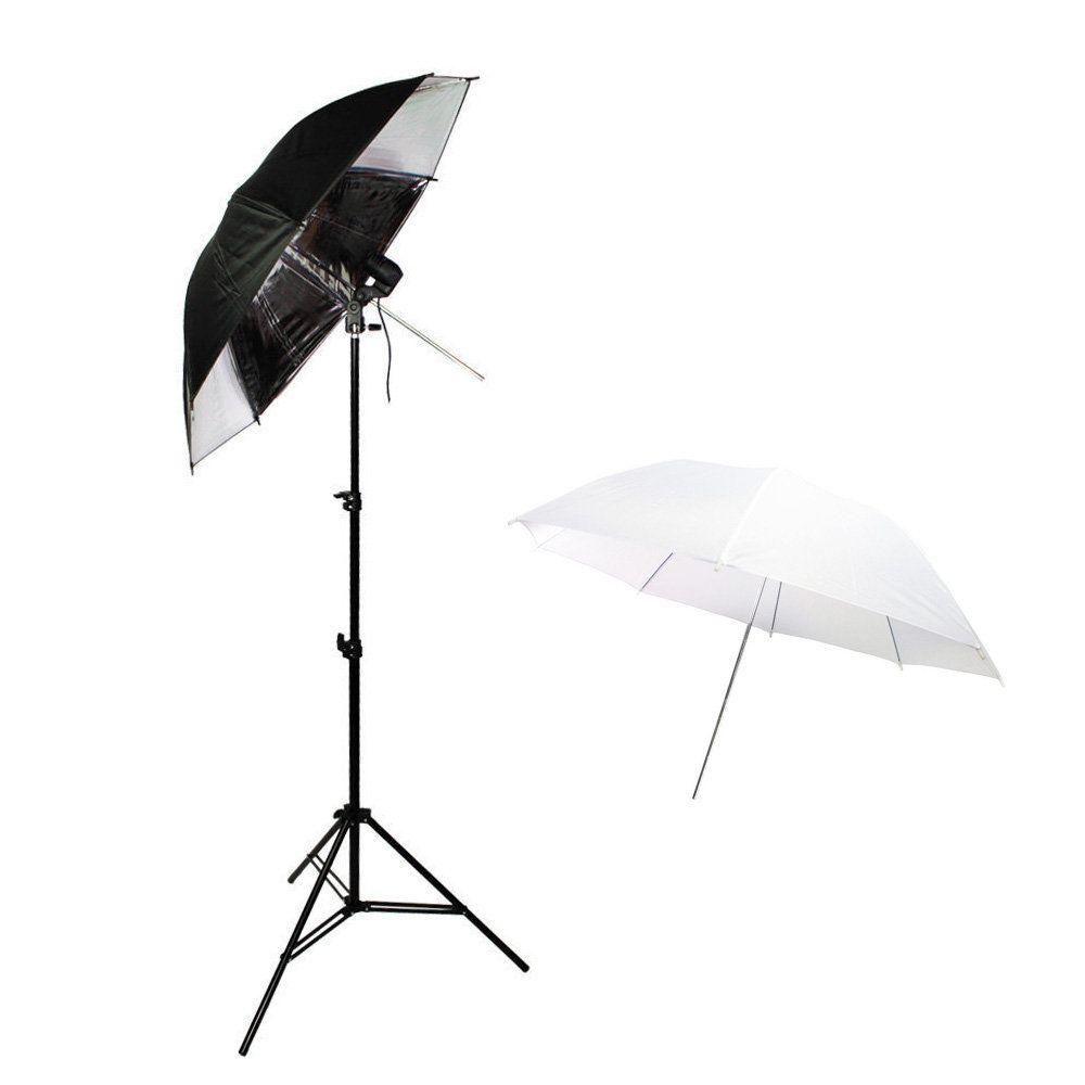 Kit de Iluminação com Tripé, Soquete, Sombrinha Branca e Sombrinha Preta e Prata Sou Foto