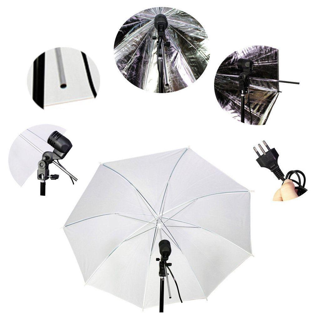 Kit de Iluminação com Tripé, Soquete, Sombrinha Branca e Sombrinha Preta e Prata Sou Foto  - Fotolux