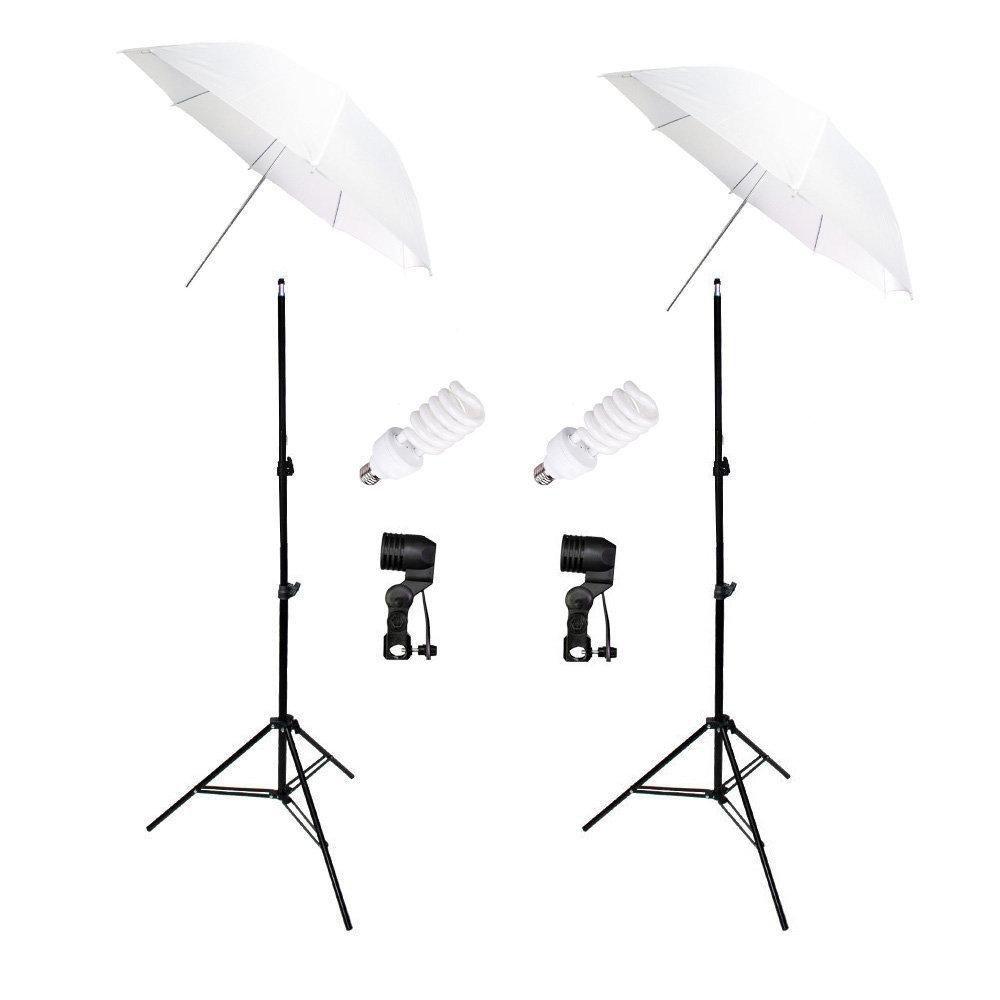 Kit de Iluminação Duplo 45W com Sombrinha Branca Difusora, Soquete Simples E-27 e Tripé de 2 metros Sou Foto para Foto e Vídeo - 220V  - Fotolux