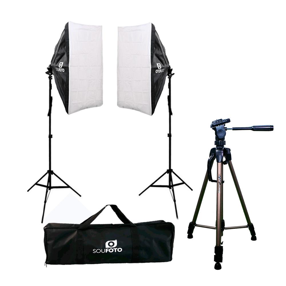 Kit de Iluminação Duplo com Softbox, Tripé WT-3730 e Bolsa para transporte  - Fotolux