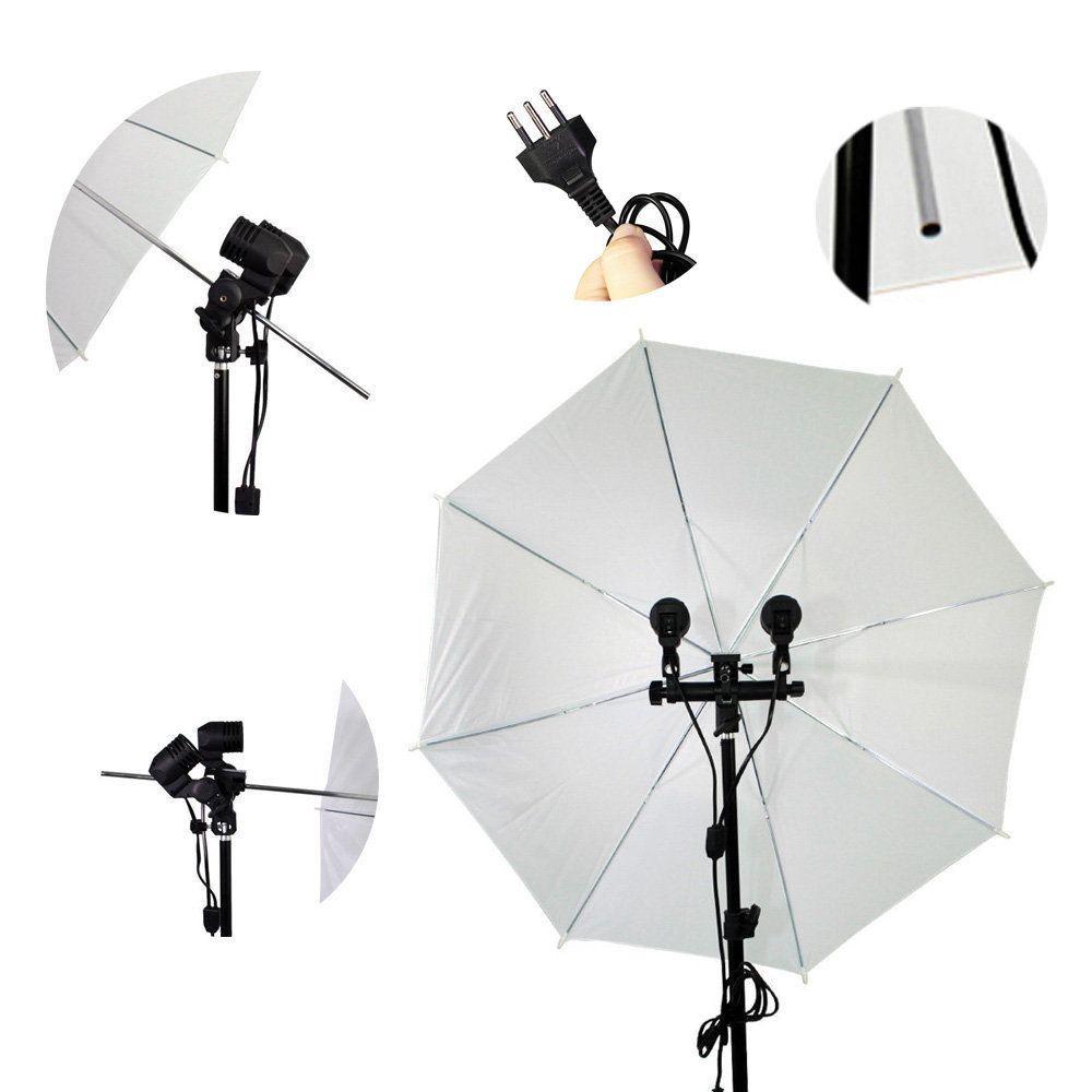 Kit de Iluminação Duplo com Sombrinhas Branca Difusora, Tripés 2m e Soquetes Duplo Sou Foto