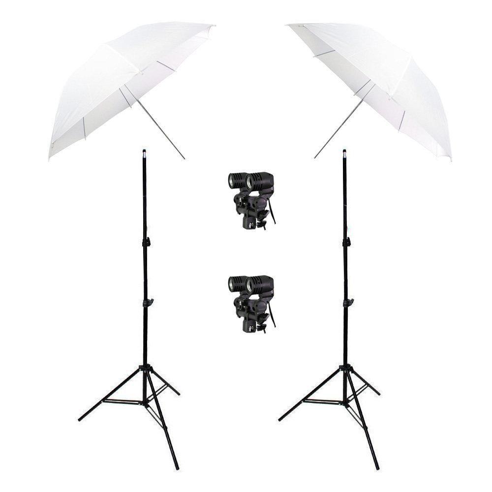 Kit de Iluminação Duplo com Sombrinhas Branca Difusora, Tripés 2m e Soquetes Duplo Sou Foto  - Fotolux