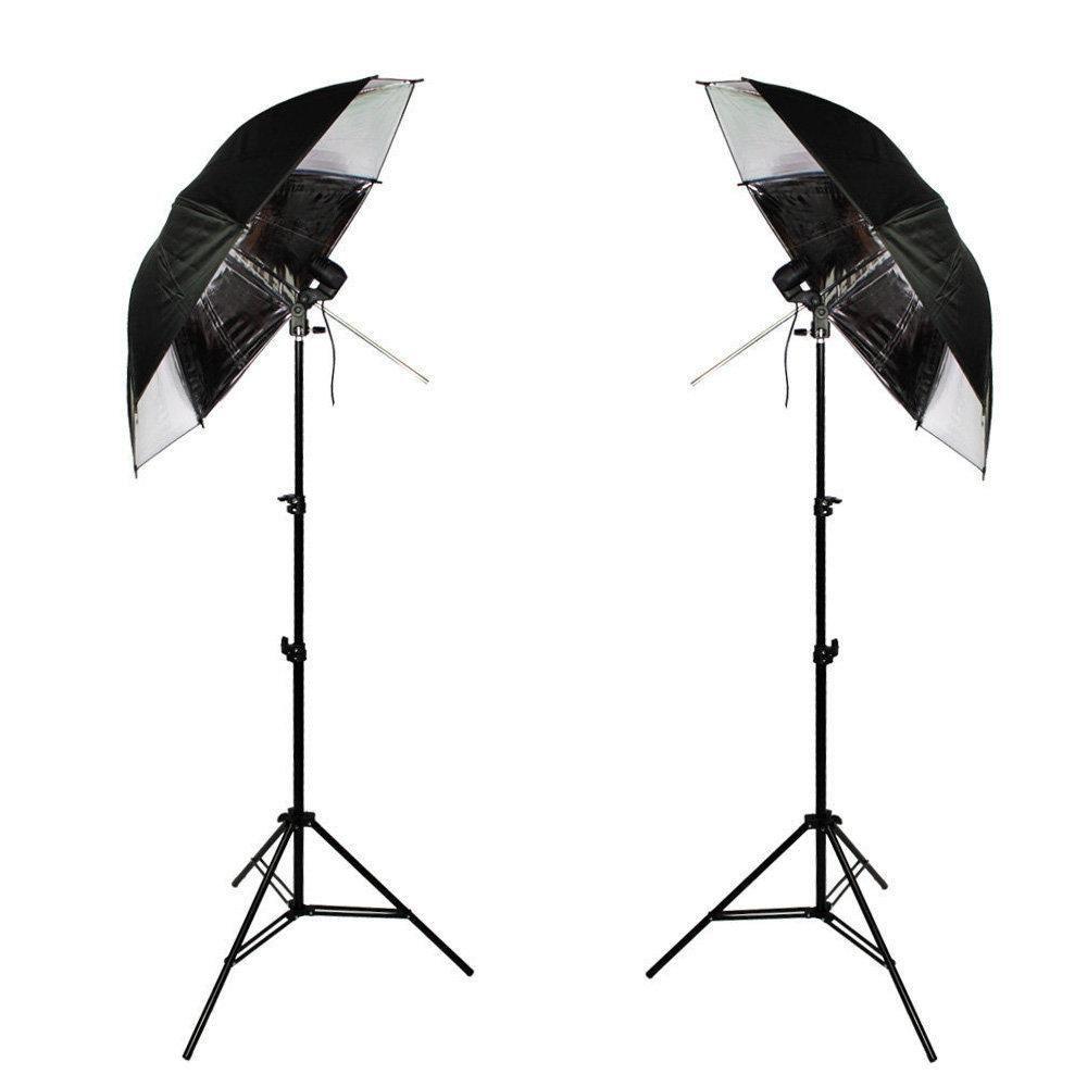 Kit de Iluminação Duplo com Sombrinhas Refletoras Preta e Prata, Tripés 2m e Soquetes Simples Sou Foto