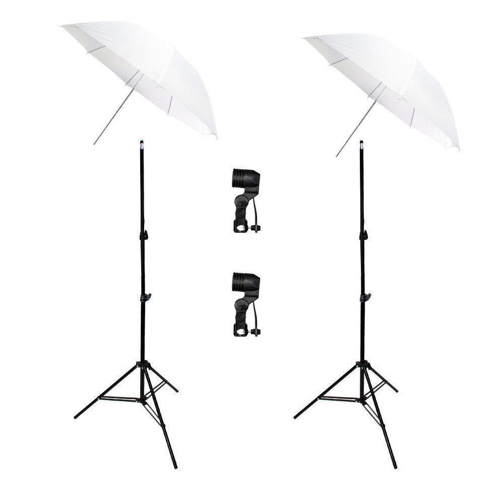 Kit de Iluminação Duplo com Tripés 2 metros, Soquetes Simples e Sombrinhas Difusora Sou Foto  - Fotolux