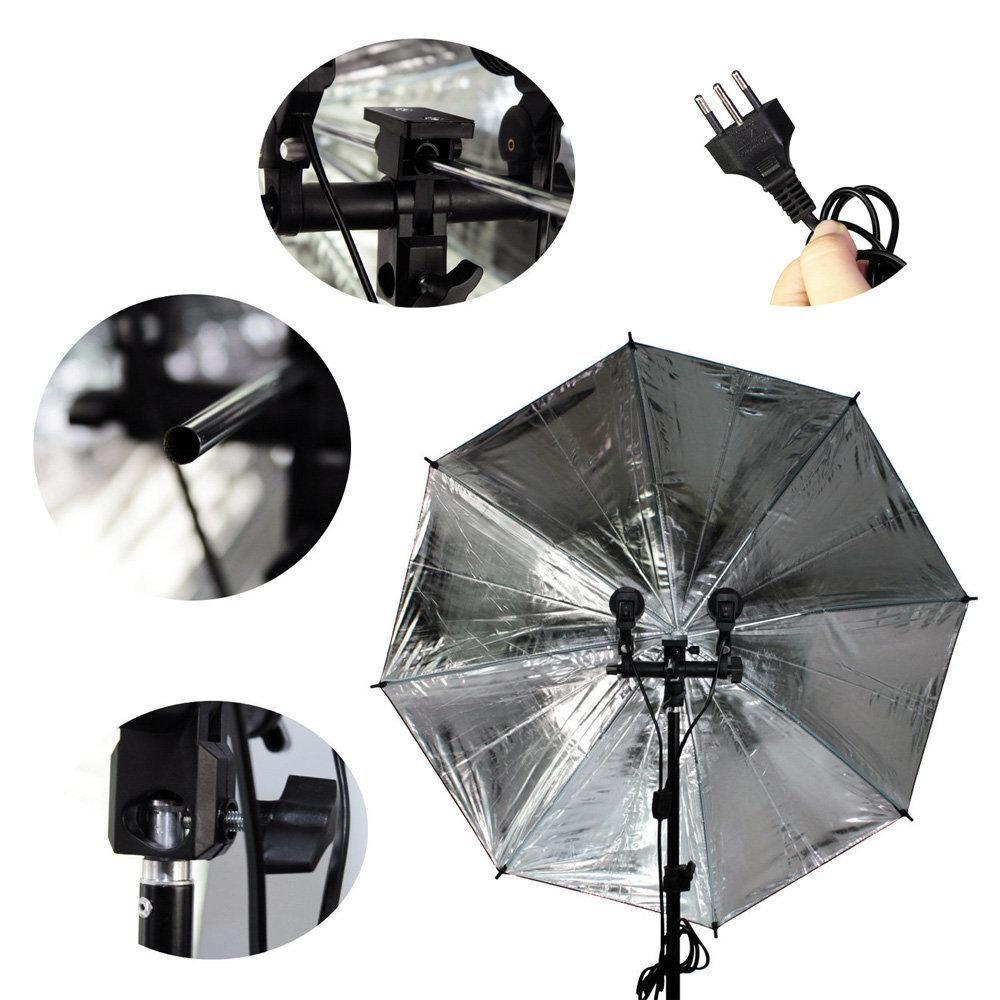 Kit de Iluminação Duplo com Tripés de 2m, Soquetes Duplo e Sombrinhas Preta e Prata Sou Foto  - Fotolux