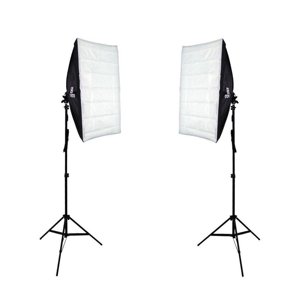 Kit de Iluminação Duplo Softbox 50x70cm com Soquete e Tripé Sou Foto para Estúdio Fotográfico