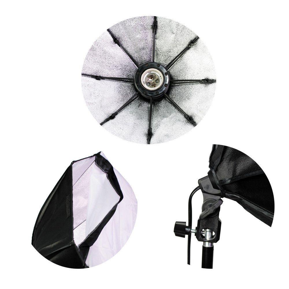 Kit de Iluminação Duplo Softbox Octagonal 70cm e Tripé 2m Sou Foto para Estúdio Fotográfico