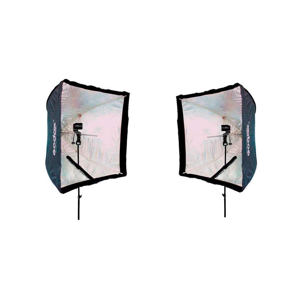 Kit de Iluminação Duplo Softbox Universal 60x60cm, Soquete Simples E-27 e Tripé 2m  - Fotolux