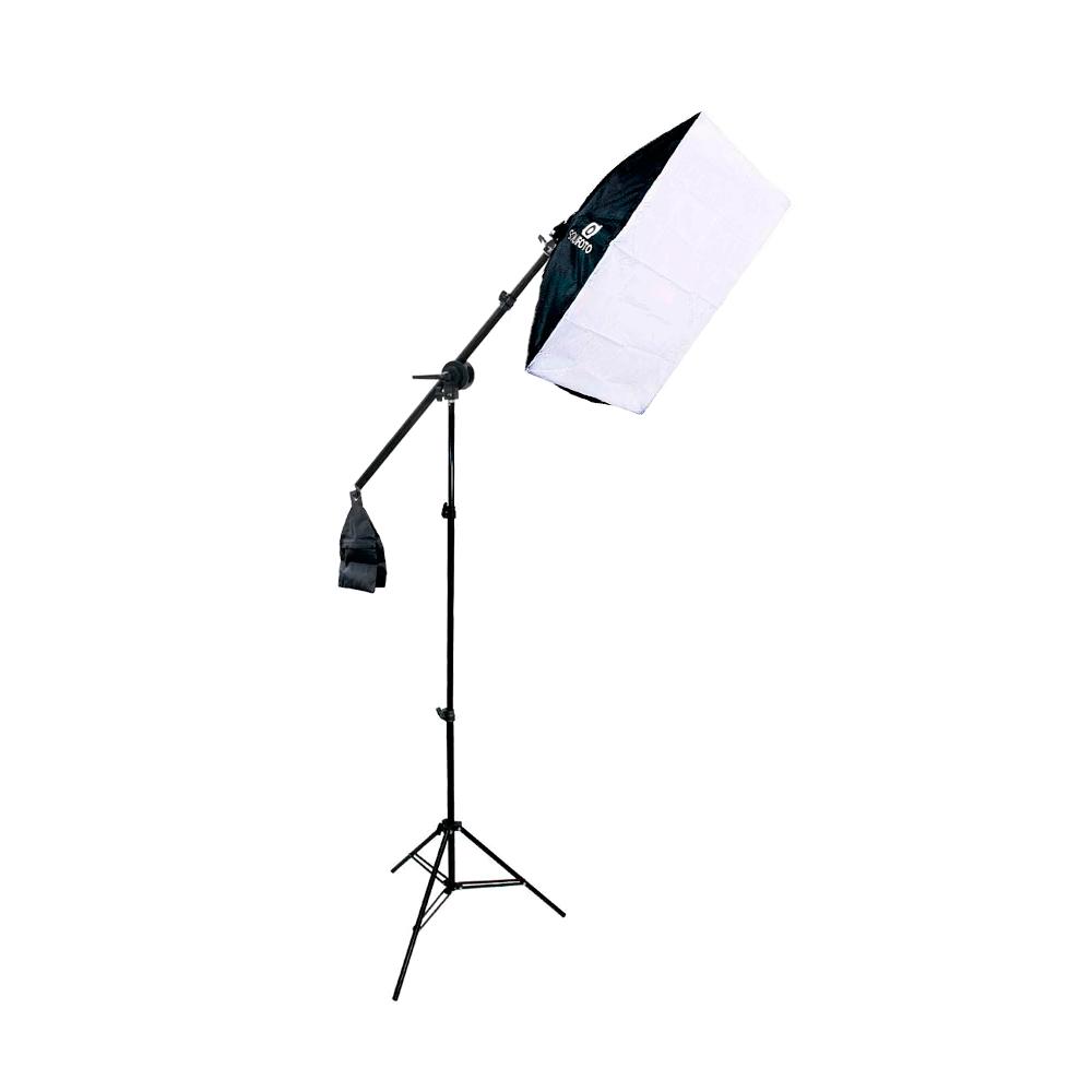 Kit de Iluminação Duplo Softbox Vareta 50x70cm com Tripés e Braço Girafa Sou Foto  - Fotolux