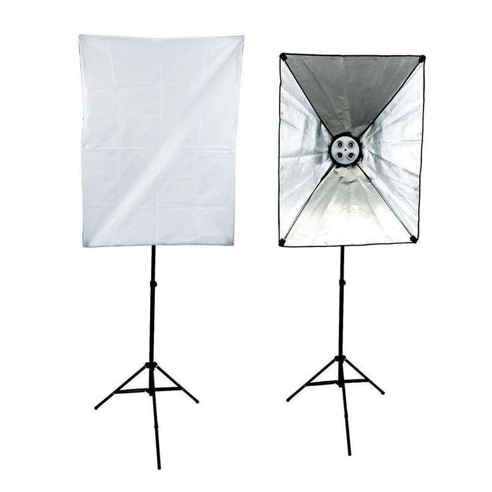 Kit de Iluminação Duplo Softbox Vareta 50x70cm Quádruplo Sou Foto SBQ-50x70 e Tripé 2m