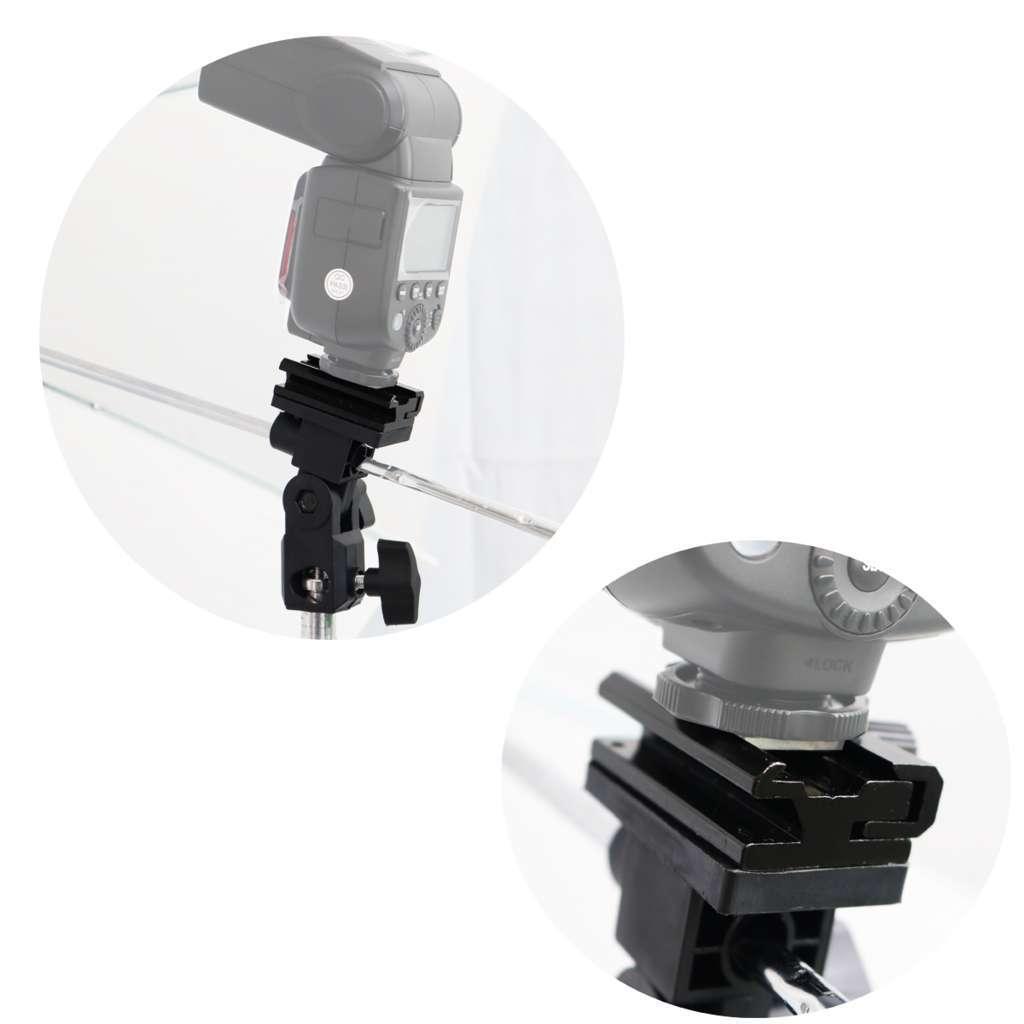 Kit de Iluminação Duplo Sombrinha Branca, Sombrinha Preta e Prata, Holder SPF-01 e Tripé 2m  - Fotolux