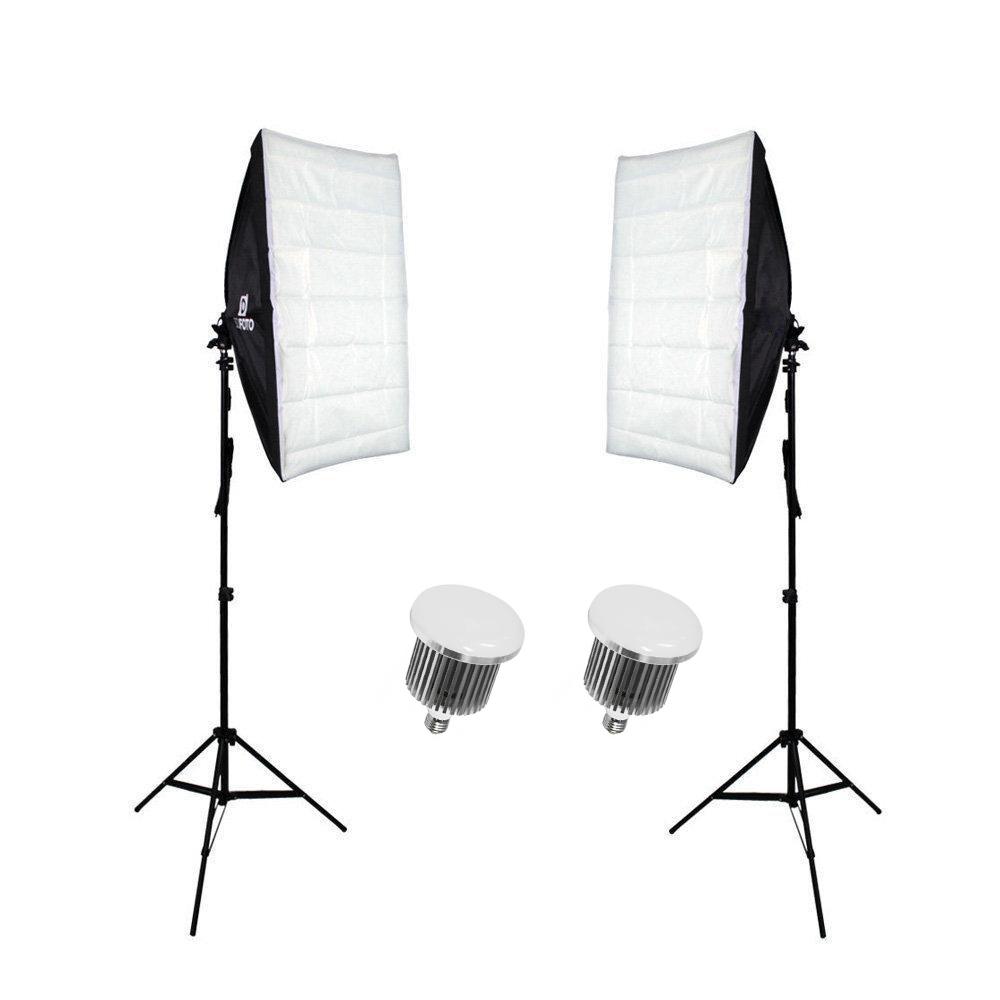 Kit de Iluminação Duplo Sou Foto com Softbox 50x70cm, Lâmpadas Led 50W e Tripé de 2m  - Fotolux