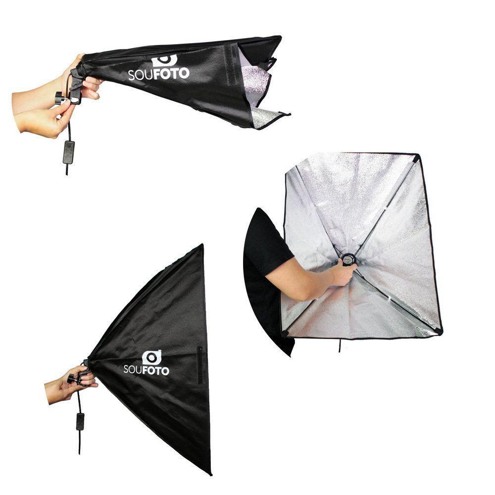 Kit de Iluminação Duplo Sou Foto com Softbox 50x70cm, Lâmpadas Led 50W, Tripé de 2m e Bolsa  - Fotolux