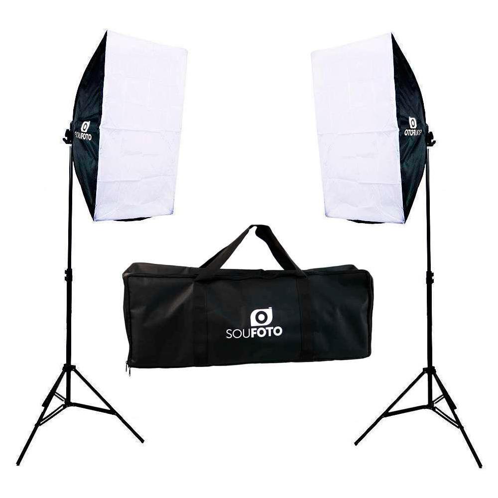Kit de Iluminação Duplo Sou Foto Softbox Quádruplo Vareta 50x70cm, Tripé 2m e Bolsa para Transporte  - Fotolux