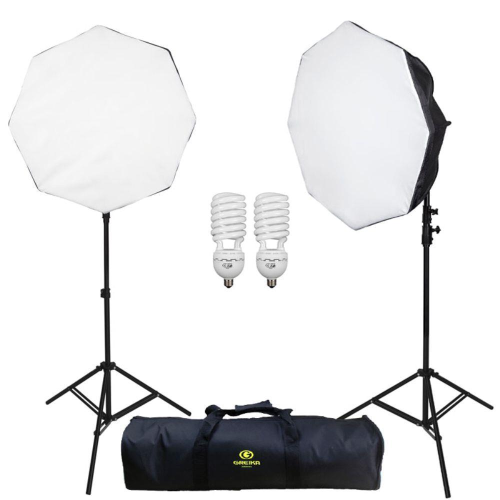 Kit de Iluminação Greika Ágata III Softbox Octagonal 50cm para Estúdio Fotográfico